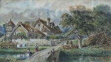 AQUARELLE art du XIXème,  paysage BUCOLIQUE animé, SIGNE, Longueur 43,5cm TBE