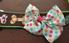 New Top Paw Casey Dots Bone Brown/Green MultiColor W/Bow Dog Collar Buckle XL