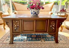 More details for  vintage large carved wooden chinese furniture oriental elmwood coffee table