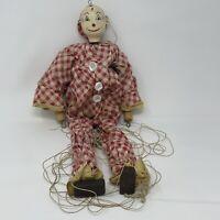 Antique Folk Art Carved Polychrome Puppet Marionette Original strings NICE !!