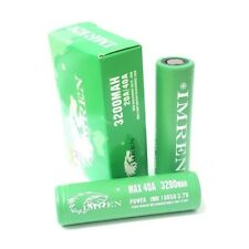 2 Imren1 IMR 18650 Battery 3200mAh 40A GREEN 3.7v Flat Top Rechargeable Battery