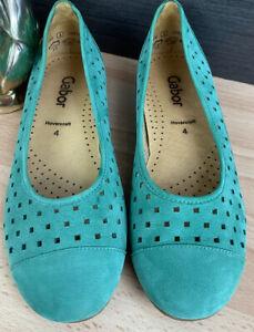 Gabor Hovercraft Green Leather Flat Slip On Shoes Women's Uk 4 Vgc ##