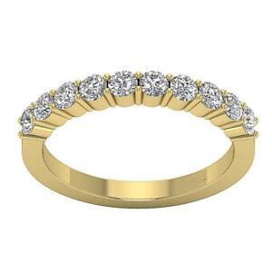 Wedding Stackable Ring Round Diamond VS1 E 1.10 Carat 14K White Yellow Rose Gold