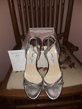 Jimmy Choo SILVER Glitter Fabric Sandals
