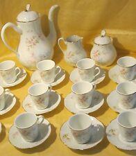Joli service à thé café porcelaine Limoges décor exclusif de roses et d'oiseaux
