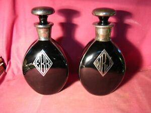 PAIR ART DECO BLACK GLASS PINCH BOTTLE WITH SILVER OVERLAY