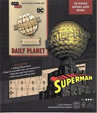 Superman Daily Planet Globe 3D Laser Cut Wood Model and Deluxe Book NEW SEALED