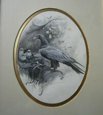 LATE VICTORIAN PEN INK & WATERCOLOUR GOLDEN EAGLE & CHICKS INDISTINCTLY SIGNED