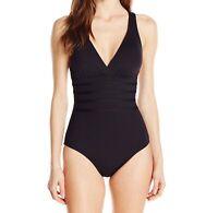 La Blanca Womens Swim Black Size 10 Crossback Rib Waist Plunge Swimsuit $119 370
