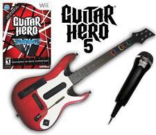 NEW Nintendo Wii Guitar Hero 5 Guitar, GH Van Halen Game & Microphone Bundle