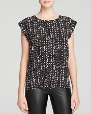NEW PAM & GELA SIZE PETITE TWISTED BACK BLACK AND WHITE  HEART TOP BLOUSE SILK