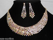 Bridal Gold With Clear & AB Iridescent Rhinestone Choker Necklace Earrings Set
