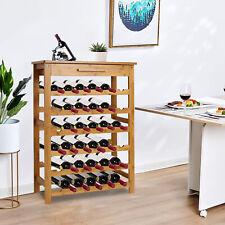 6-Tier Bamboo Wine Rack Storage 36-Bottle Wine Holder Display w/Drawer for Bar
