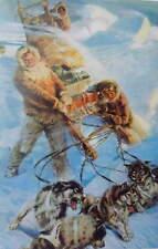Men , Huskys Dog Sled in Blizzard Vintage art