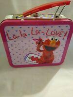 "2007 Sesame Street Elmo Mini Lunch Box Small Tin Metal La La Love Roses 5"" x 4"""