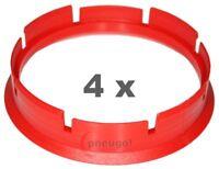 4xZentrierring Kunststoff 72.6mm auf 67.1mm rot