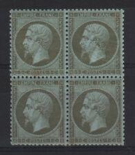 "FRANCE STAMP TIMBRE 19 "" NAPOLEON III 1c OLIVE BLOC DE 4 "" NEUF TB   R536"
