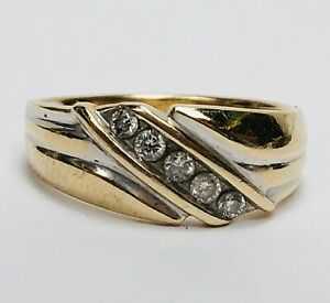 Vintage 14k Solid Yellow Gold Diamond Mens Wedding Band Ring Size 11 Signed CA