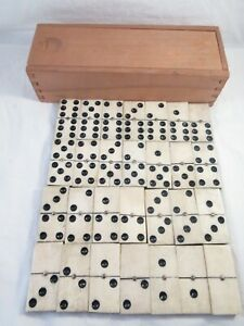 Vintage Bovine Bone and Wood Dominoes