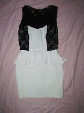 My Michelle Juniors 7 Two tone Black Lace & white peplum sleeveless Mini dress
