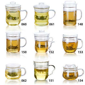 Full Clear Glass Coffee Teapot Cup Mug with Detachable Filter infuser