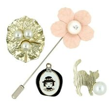 4 pieces Brooch Pins Collar Clip Kitty Cat Flower Leaf Hat Pearl Gift Party P31