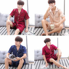 Mens Silk Satin Pajamas Set PJS home Sleepwear short sleeve shirts shorts L/3XL