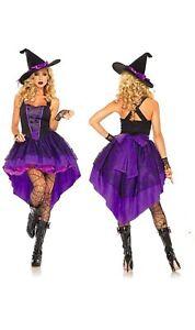 eBoutik - Purple Halloween Witch Costume - Waterfall Back & Corset Tie Dress