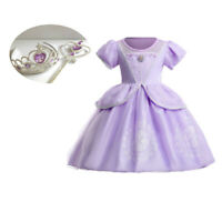 Girl Princess Sofia the First Fancy Party Dress Xmas Halloween Cosplay Costume