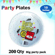 Disposable Plastic Plates 10 Inch 200/Pc Round White Plate Party Occasions New