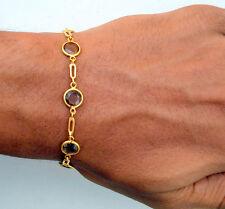 20K Yellow Gold Smoky Topaz Gem Stone Bracelet India