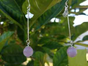 Kunzite Gingko Earrings sterling silver