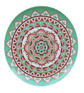 Melamin Teller Ibizaprint grün 25 cm Camping Geschirr Garten Zelten Party NEU