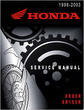 Honda XR80R XR100R 1998 1999 2000 2001 2002 2003 REPAIR SERVICE MANUAL XR 80 100