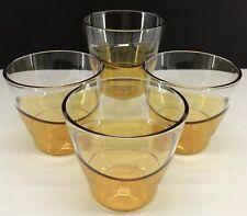 Tupperware Sheerly Elegant Tumbler Short Glasses Set of 4 Gold Amber Acrylic New