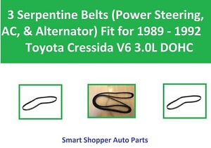 Serpentine Belts for Alternator, PS, AC to Fit for 1989 - 1992 Toyota Cressida