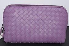 Bottega Veneta purple intrecciato cosmetic make up case & clutch bag NEW