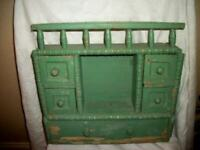19th C. FRENCH PRIMITIVE FARMHOUSE SPICE CABINET HANDMADE CHIPPY PAINT TURNINGS