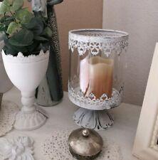 Windlicht Laterne Kerzenständer Deko Metall Weiß Patina Shabby Vintage Landhaus