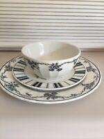 3PC WAVERLY Garden Room Black Floral Toile Salad Dinner Plate Ice Cream Bowl Set