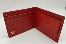 Vintage ROLEX Leather Wallet Card Holder RED #47