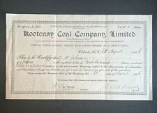 1904 Kootenay Coal Limited Stock Certificate British Columbia