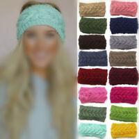 Girls Womens Crochet Headband Knit Flower Hairband Ear Warmer Winter Head Wrap