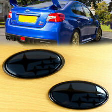 NEW Front & Rear Glossy Black / Black Badge Emblem For 2015-Up wrx sti