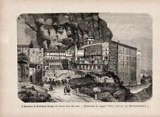 Stampa antica MONASTERO di MONTSERRAT Catalogna 1891 Old print Grabado antiguo