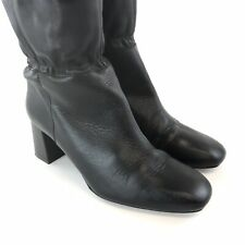 ZARA 37 US6 UK4 Black Leather Over The Knee OTK Pull On Lace Sexy Booties Boots