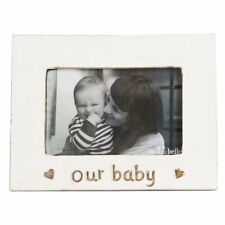Sass & Belle Rustic White Our Baby Wooden Freestanding Photo Frame 16x20cm
