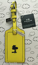 COACH X PEANUTS WOODSTOCK YELLOW LEATHER LUGGAGE TAG LIMITED EDITION RARE NWT