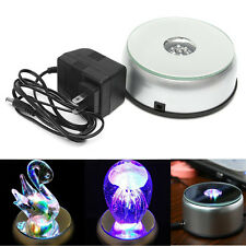 7 LED Round Unique Rotating Crystal Light Base Electric Battery Display Stand