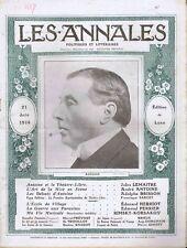 Les annales n°1617 du 21/06/1914 Antoine comédien Théâtre-Libre Japon Rimsky-Kor